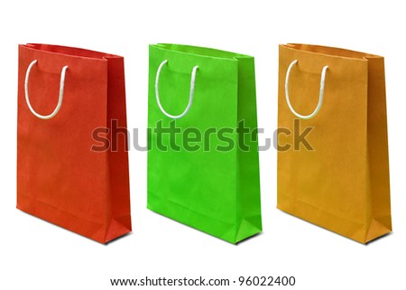 blank colorful paper bag isolated on white background - stock photo