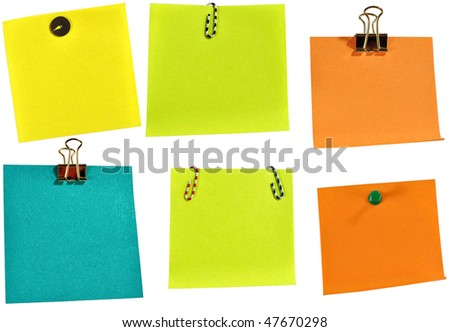 Blank colorful papers with clip isolated over white background