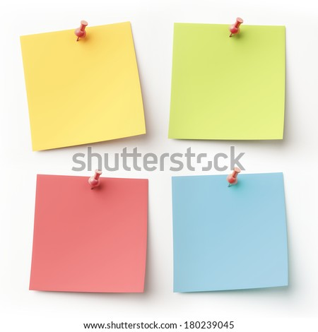 Blank Colorful Sticky Notes isolated on white
