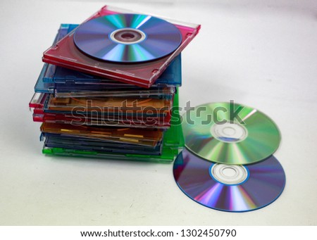 blank compact discs and cases for recording #1302450790