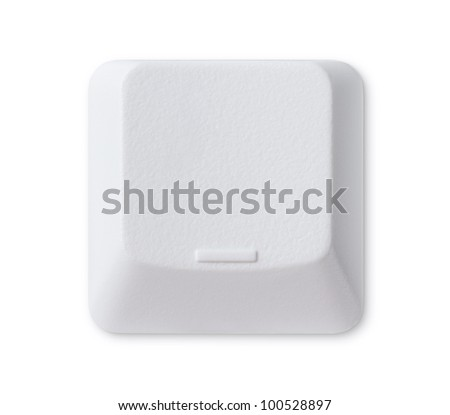 Blank computer key isolated on white background with clipping path - stock photo