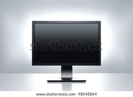 Blank computer monitor at the desk with clipping path