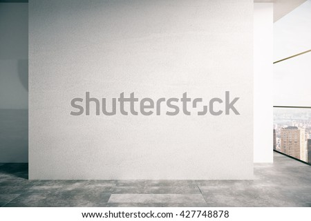 Blank concrete wall in empty interior with city view. Mock up, 3D Rendering