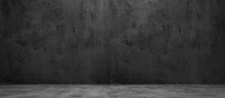 Blank concrete wide dark wall texture background