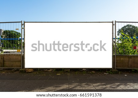 Blank Construction Gate Ad Blockade Fence Large White Isolated Template Working Industry