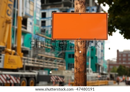 free photos blank construction sign on a electric wooden pole