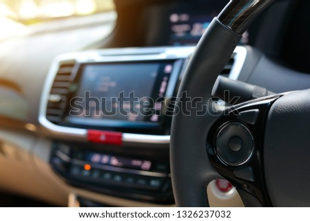 blank control button on steering wheel of vehicle car #1326237032