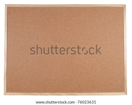 Blank corkboard with a wooden frame isolated