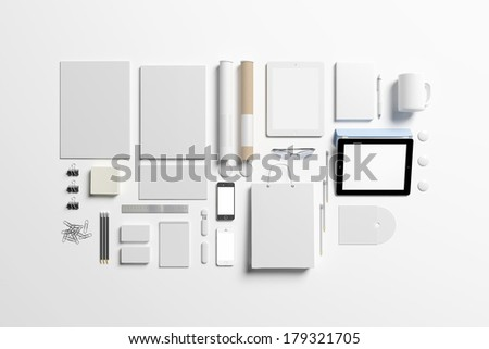 Blank corporate identity set / Stationery / Branding. Consist of letterhead, folder, book, note, phone, tablet pc, business cards, cup, pen, pencil, cd, buttons, envelope, tubus.