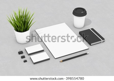 Blank corporate identity stationery set, personal branding mockup template. Sheets of paper, business cards, plant, notebook, coffee cup, pencil and clamps. Logo, portfolio items 3D illustration.