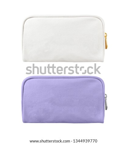 blank cosmetic case bags, small zip bags isolated on white background Foto stock ©