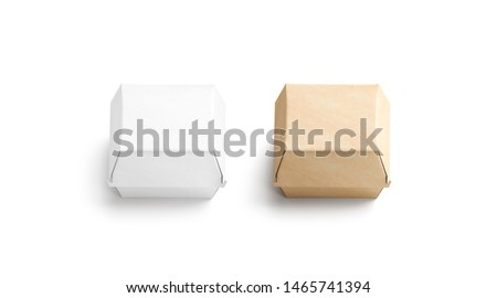 Blank craft and white burger box mockup set, isolated, 3d rendering. Empty fast food package mock up, top view. Clear portable carton container for cheeseburger or chicken wings template.