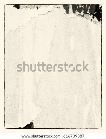 Blank creased crumpled paper texture background old grunge ripped torn vintage collage posters placard