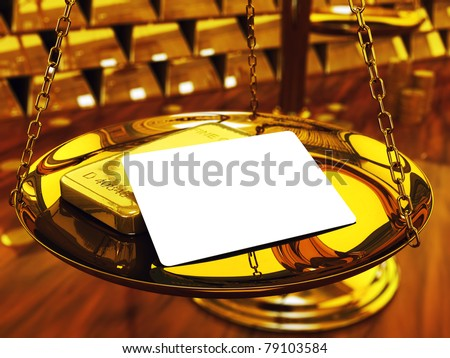 Blank credit card ,gold ingots and brass scale , 3d illustration