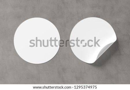 Blank curled sticker mockup isolated on concrete background 3D rendering #1295374975