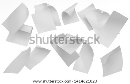 Blank Curved Flyers, Leaflets. Flying Sheets Of Papers. Many Bending Cards. 3D render
