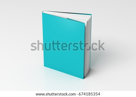 Blank cyan vertical dust jacket or dust wrapper standing book. Isolated with clipping path around book. 3d illustration.