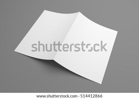 Blank 3D illustration mockup leaflet or brochure.