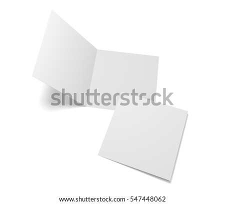 Blank 3d illustration open square greeting cards