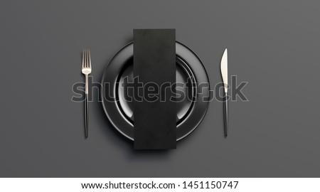 Blank dark checklist mockup on plate with cutlery, top view, isolated, 3d rendering. Clear black deluxe dishware with knife and fork mock up. Empty cutout leaflet on table ware with food template.