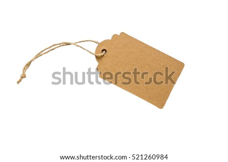 Blank decorative cardboard paper gift tag with twine tie, isolated on white