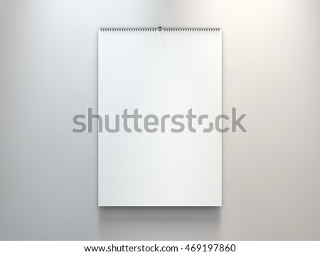 Blank design calendar template with open cover on a grey background with soft shadows. 3d rendering