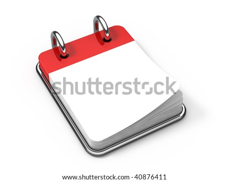 Blank Desk calendar on white - 3d render