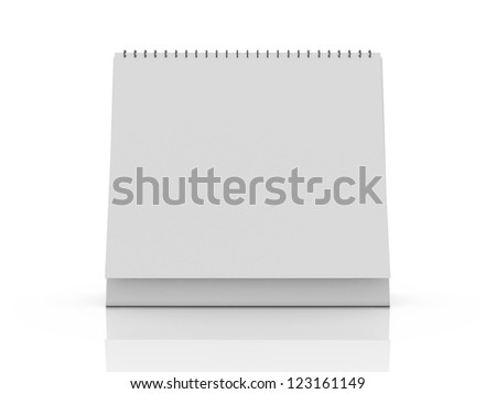 Blank desk calendar with reflection, front view, isolated on white background.