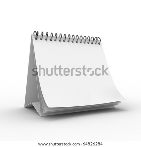 Blank desktop calendar isolated on white background