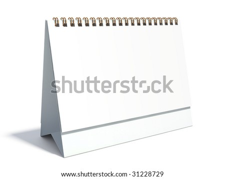 Blank desktop calendar isolated on white background with smooth shadows