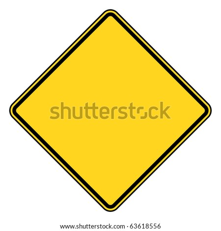 Blank diamond shaped road sign with copy space, isolated on white background.