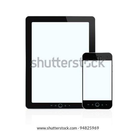 Blank digital tablet and mobile  smart phone isolated on white background with two clipping paths for both screens