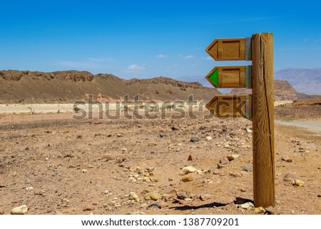 Blank direction sign in sand desert. Wood three arrows signpost. Desert and mountains background. #1387709201