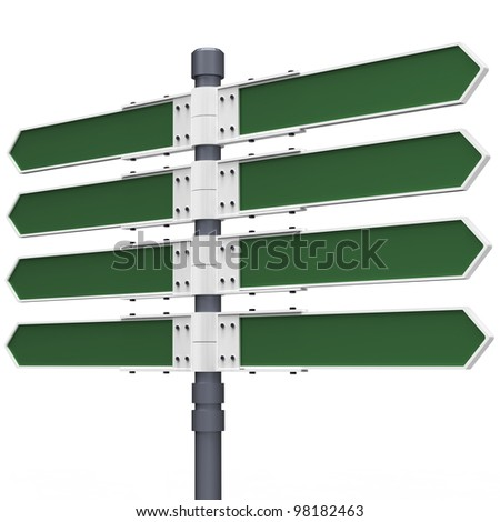 Blank direction sign with 8 arrows (add your text) with clipping path. - stock photo