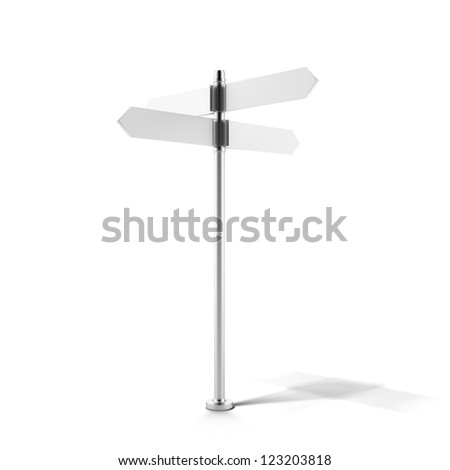 Blank direction signpost isolated on a white background - stock photo
