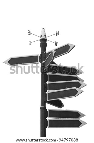 Blank Directional Arrow Sign isolated on withe