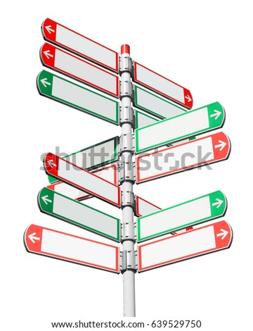 Blank directional road signs isolated on white. White arrows of a various directions on the signpost #639529750