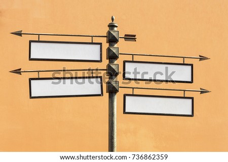 Blank directional road signs Metal pointer #736862359