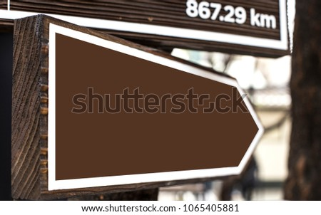 Blank directional road signs.Warm toned colors. Old style image #1065405881