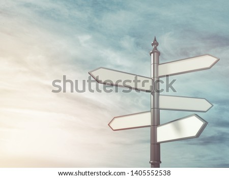 Blank directional sing road on the sky background #1405552538
