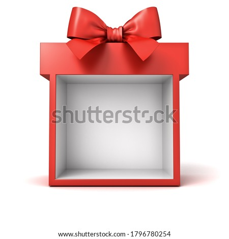 Blank display present box showcase or gift box mock up isolated on white background with shadow 3D rendering