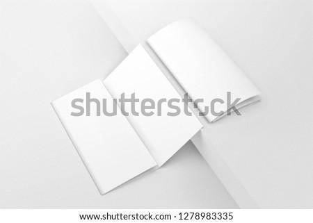 Blank DL trifold brochures mockup. 3D rendering.