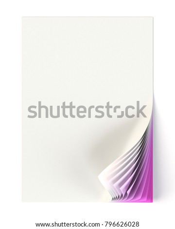 Blank document mock up with graduated purple curled corner. 3D illustration
