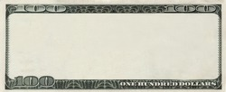 blank 100 Dollars bank note for design with copyspace