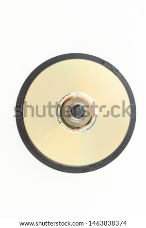 Blank DVD discs, top view. Stack of compact DVD discs over white background.