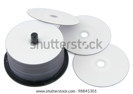 Blank DVD-discs white isolated on white background