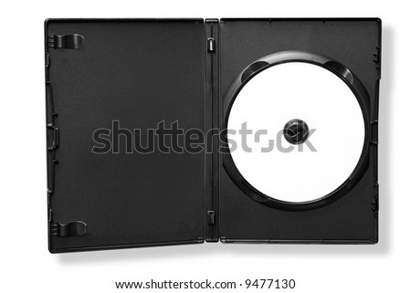 Blank DVD in black case, isolated on white.