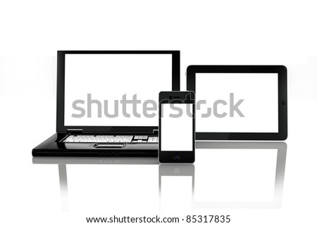 Blank electronic screens, blank empty white screens of smartphone mobile, Tablet PC and a laptop. rendered in 3D ,screens left white to insert custom screens of your choice