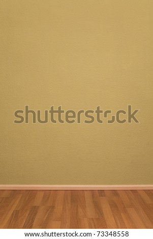 Blank Empty Grunge Room with Wallpaper and Parquet