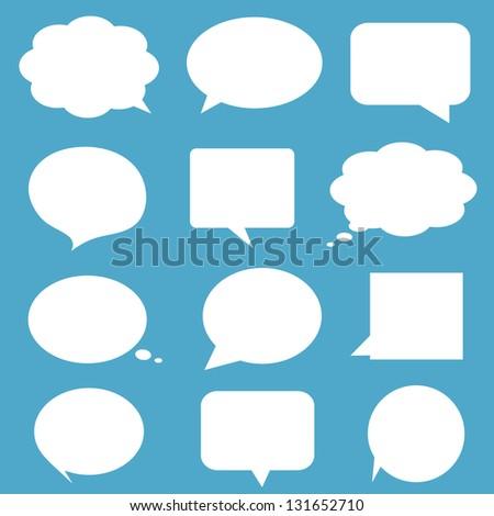 Blank empty white speech bubbles on blue background.